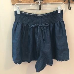Pom Pom lined denim paper bag shorts